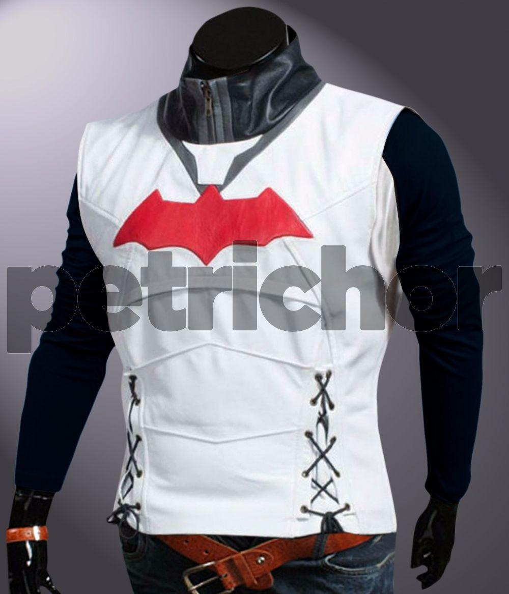 Vest Batman Jason Todd Hooded Jacket with Vest Red Shield Leather Jacket