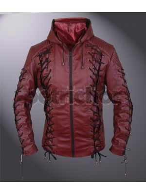 Synthetic Leather Arrow Arsenal Roy Harper Hooded Jacket