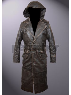 Genuine Leather Assassin's Creed Syndicate Hooded Long Coat