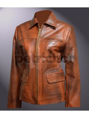 Genuine Distressed Leather Hunger Games Katniss Everdeen Coat
