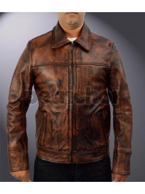Genuine Cowhide Leather John McClane Bruce Willis Live Free or Die Hard Jacket