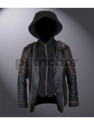 Genuine Leather Suicide Squad Jared Leto Joker Killing Jacket w Removable Hood