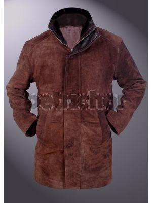Genuine Cowhide Suede Leather Sheriff Walt Longmire Coat w Faux Fur Collar