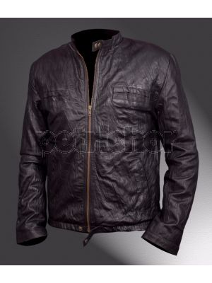 Genuine Wrinkle Washed Cowhide Leather Oblow 17 Again Zac Efron Jacket