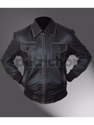 Genuine Cowhide Leather Sheriff Graham Once Upon A Time Jamie Dornan Bomber Jacket